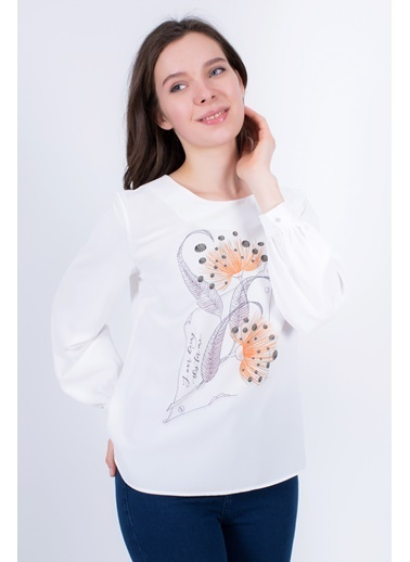 Clıche  Oranj Çiçek Motifi Baskılı Bluz. Oranj